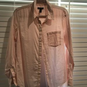 Pink and white womens button up
